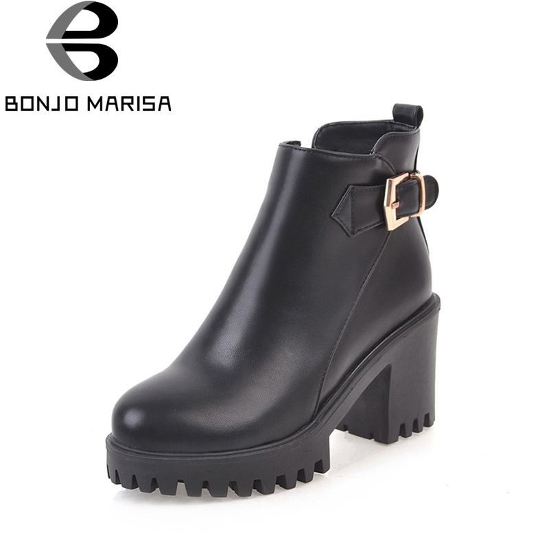 BONJOMARISA 2018 Autumn Concise Mature Ankle Boots With Zipper Buckle Platform High Square Heel Women Shoes Plus Size 34-45 bonjomarisa women s high heel wedge