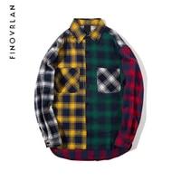 New Spring Color Block Patchwork Turn Down Collar Men S Shirt 2018 Flannel Plaid Hip Hop