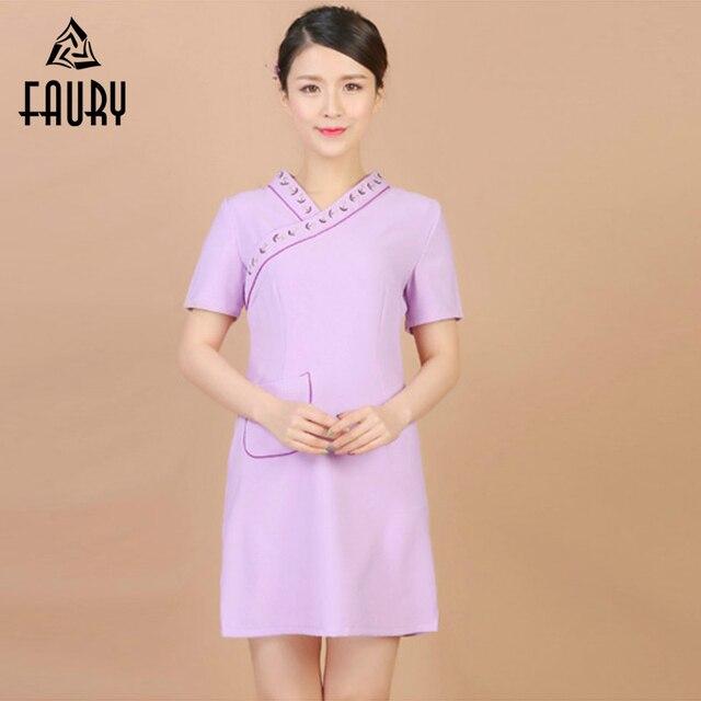 e400280e622 Chinese Style Short Sleeve Work Dress Hospital Medical Nurse Uniforms Long  Coat Beauty Salon Massage SPA Sauna Workwear Clothing