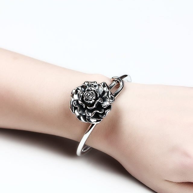 990 Sterling Silver bangle bracelets for women Vintage Rose design bracelets & bangles jewelry 5.5CM Resizable