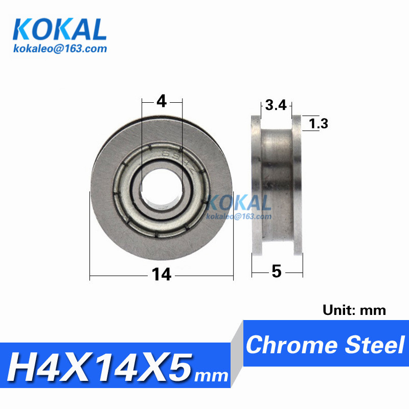 free Shipping 10pcs U/h Grooved Metal Minisize Non-standard Guide Wire Sliding Bearing Roller Wheels 4*14*5mm Inner 4mm Catalogues Will Be Sent Upon Request h0414-5 Hearty