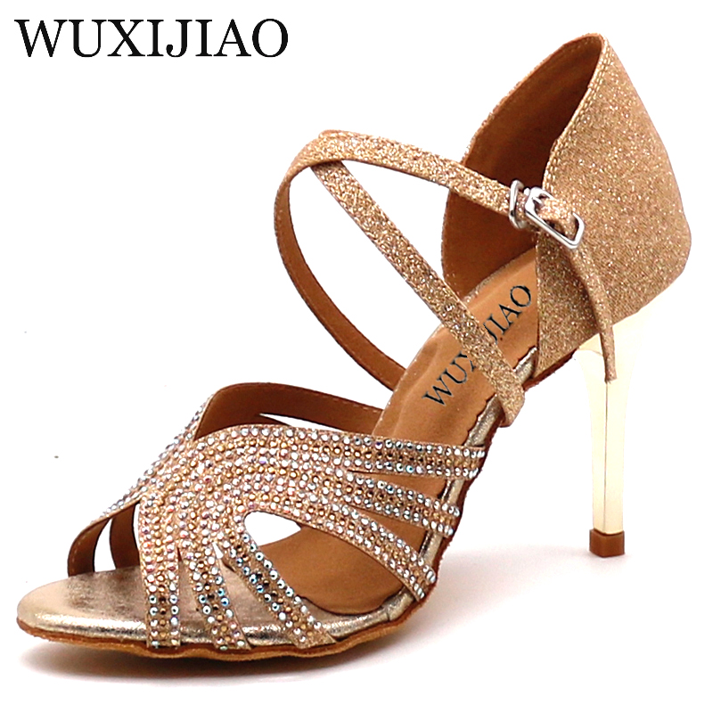 WUXIJIAO Ms Ballroom Dancing Shoes Soft Bottom Sequined Cloth Set Auger Modern Women Shoes High Heel Shoes