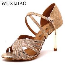 WUXIJIAO MS бальные танцы обувь мягкая подошва расшитая блестками ткань набор шнека Современная женская обувь на высоком каблуке