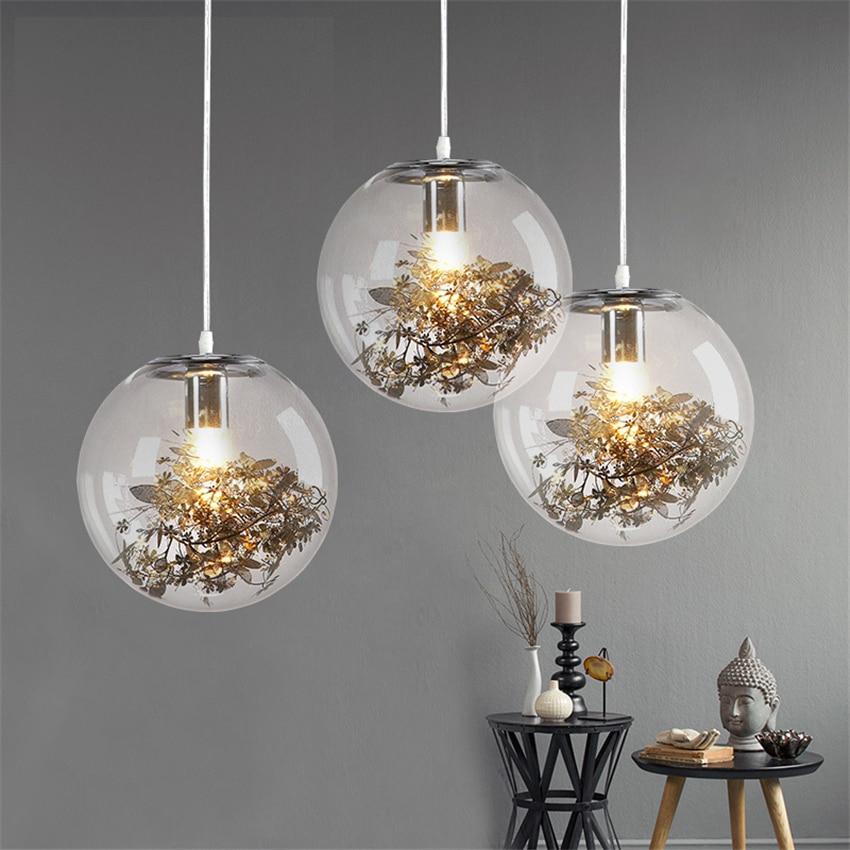 Pendant Lights Reasonable Clear Glass Ball Modern Hanging Lamps Stainless Steel Flowers Leaves Golden Silver Glass Pendant Lighting Fish Tank Pendant Lamp