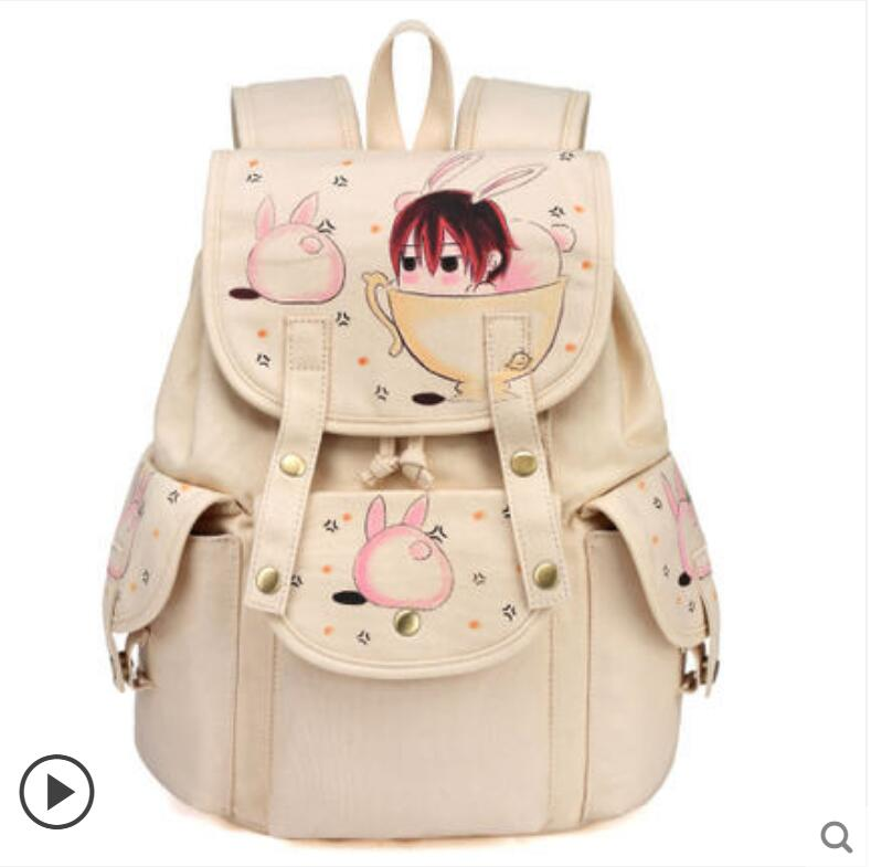 Backpack female bag high school students Korean fashion campus canvas bag hand-painted backpack 2017 new painted canvas bag shoulder bag korean version of the travel backpack student bag school bag campus