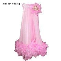 Прекрасный розовый Онлайн Перо платье с цветочным узором для девочек 2017 с цветами до колен Длина для маленьких девочек Красота Pageant Выходны...