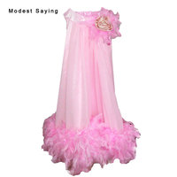 Lovely Pink A line Feather Flower Girl Dress 2017 with Flowers Knee Length Baby kids Girl Beauty Pageant Party Prom Gowns YF23