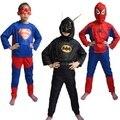 Spiderman Batman Superman Spiderman Traje Preto vermelho Trajes de Halloween Para Crianças Capas de Super-heróis Anime Cosplay Carnaval Costume