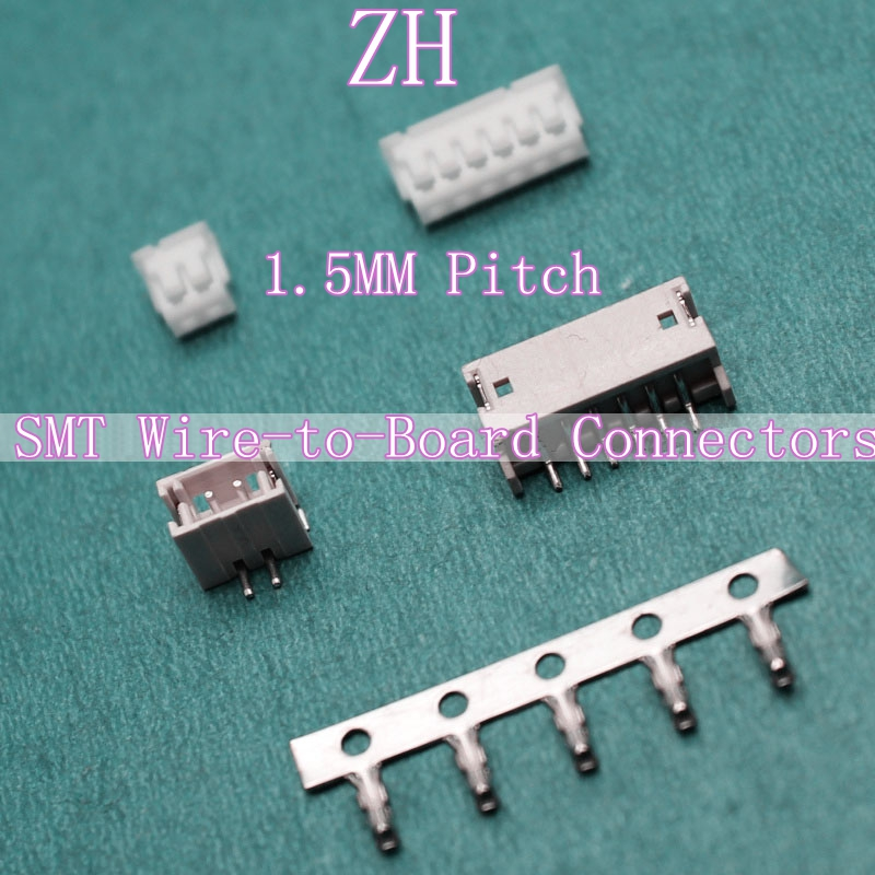 ZH patch SMT 1.5mm pitch 2-10p female connector lying paste + terminal