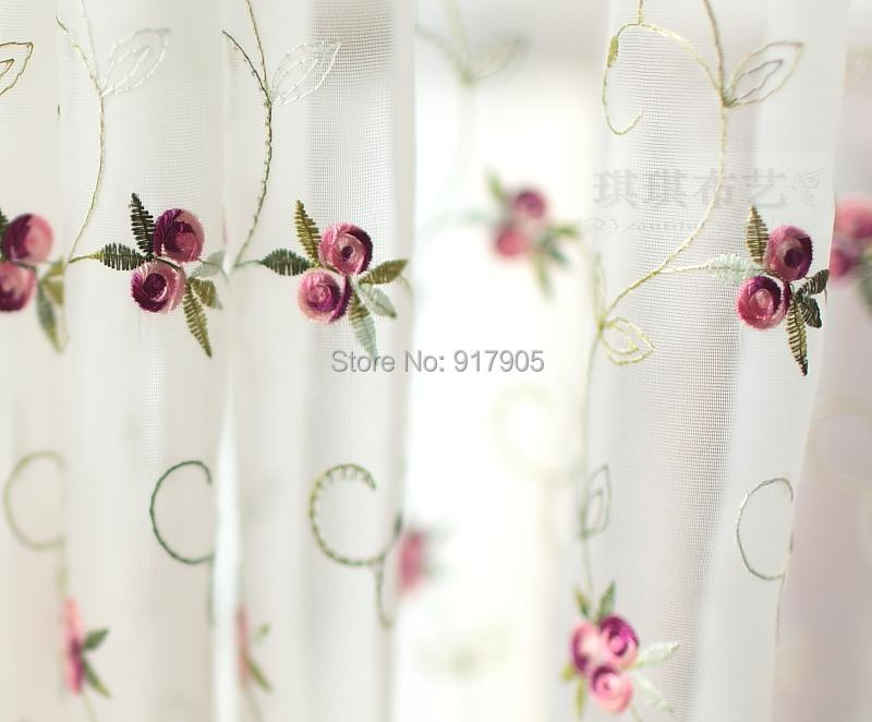 Genial Free Shipping Romantic Little Red Rose Embroidered Valance Kitchen Curtains,  Elegant Embroidered Sheer/Tulle Curtains In Curtains From Home U0026 Garden On  ...