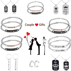 His Queen Her King Couple Bracelet Necklace Her Prince His Princess Crown High Quality Charm Bracelet for Valentine Gift Jewelry(China)