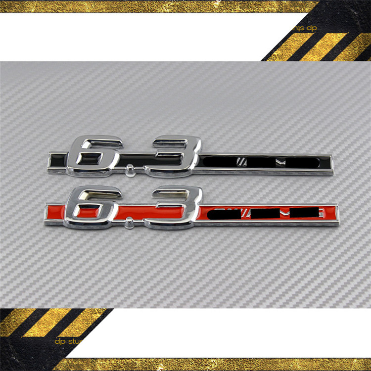 2pcs Metal New Car Chrome Badge Emblem for 6.3 AMG for Mercedes Benz S63 E63 CL63 C63