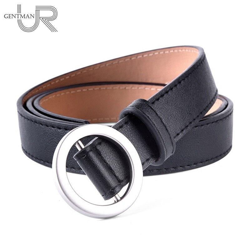 1 Pcs Belt Women Non-hole Fashion Belt Round Buckle PU Leather Decorative Belt Female Harajuku Jeans Dress Belt For Women buckle