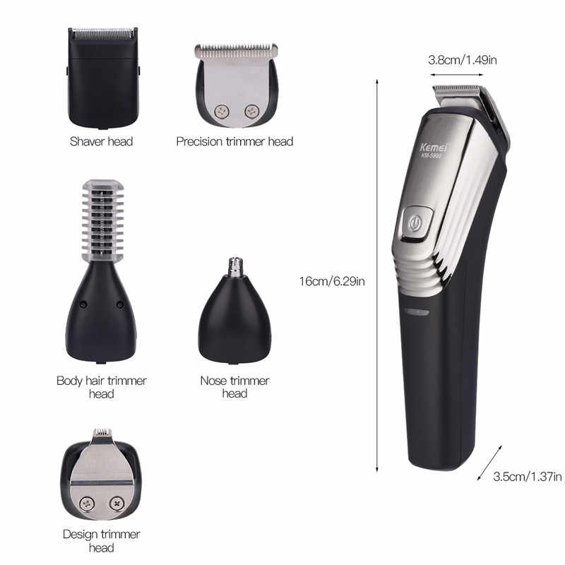 Kemei Professional  Hair Trimmer  6 In 1 Hair Clipper Shaver Electric Beard Trimmer Rechargeable Nose Eyebrow Trimmer Shaving