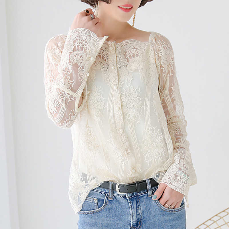 696e62da1dbca spring women new chic Korean perspective lace floral embroidery blouse  gauze long sleeve sweet blouses female