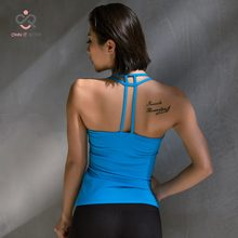 Tank top Sexy sports yoga vest running fitness vest Pula fast dry clothes fixed shock blue t shirt with bra p095(China)