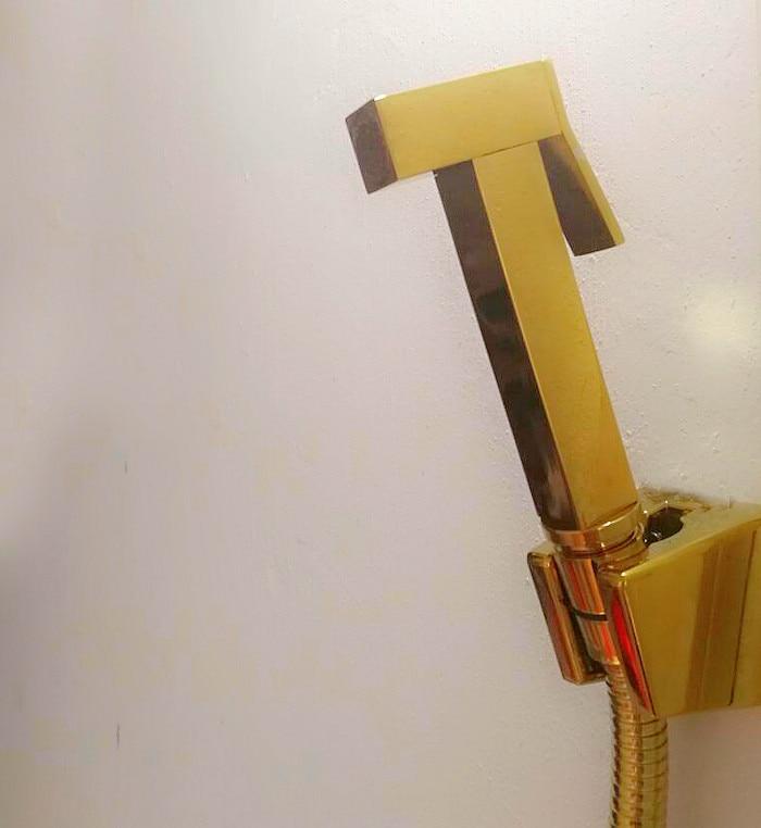 Kit de toilette de Douche pulvérisateur de Bidet tenu dans la main brillant or laiton carré Shattaf tête de Douche ensemble de Valve de cuivre Jet Bidet Fauce GD12