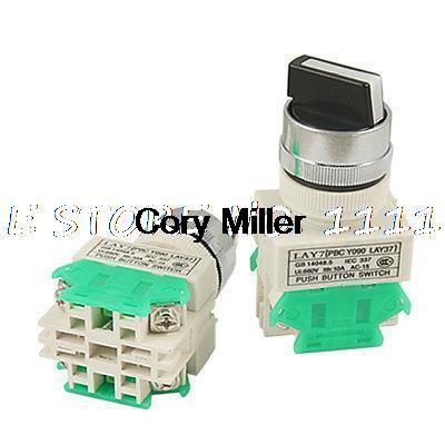 2 Pcs X On-OFF-ON Three 3 Position Rotary Select Selector Switch 22MM 7/8 1 no 1 nc three 3 positon rotary selector select switch latching 22mm