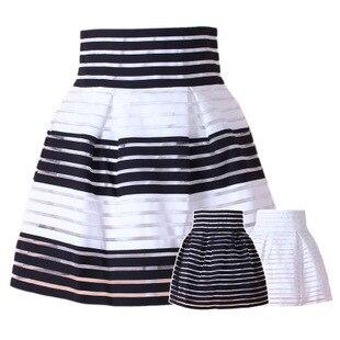 49cfe37baf Nueva Gasa de La Moda Falda de La Muchacha de Dos Capas Negro Blanco A  Rayas Organza Del vestido de Bola Faldas en Faldas de La ropa de las  mujeres en ...
