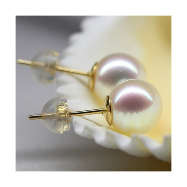 5754aa4fb Lii Ji 18K Gold Luxury High Quality White Round Smooth Japanese Akoya Pearl  8-9mm