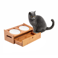 Petacc Durable Pet Bowl High Quality Wooden Cat Bowls Eco Friendly Dog Feeder With Wooden Stand