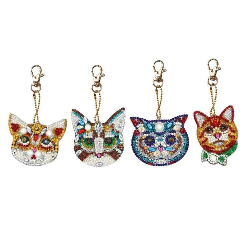 4/5pcs DIY Full Drill Special-shaped Diamond Painting Keychain Cartoon Animal Women Bag Pendant Ornament Jewelry Key Ring Gifts