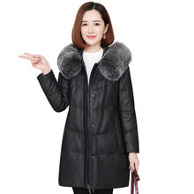 Genuine Leather Down Jacket High Quality Large Size Coat 2019 Winter New Fox Fur Collar Overcoat Female Sheepskin Outerwear FC22(China)