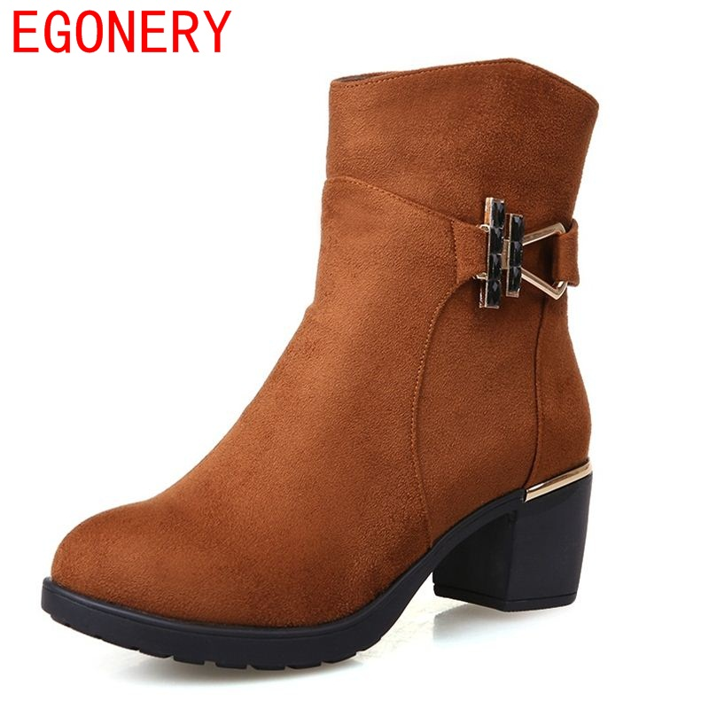 EGONERY shoes 2017 women ankle boots riding equestrian boots korean style side zipper sequined round toe