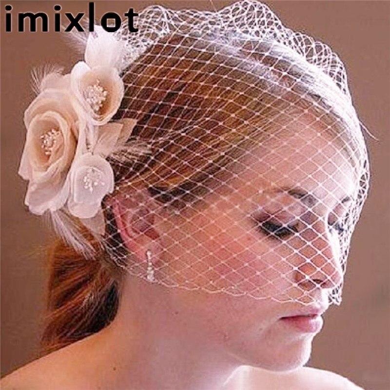 Imixlot Vintage De Mariée Fleur Birdcage Visage Couverture Voile De Mariage Cheveux Accessoire Parti Décoration