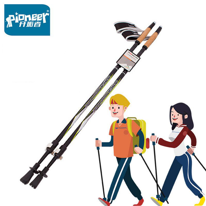 PIONEER 2PCS/LOT Outdoor Straight Grip Handle Cork Telescopic Hiking Nordic Walking Stick Cane Carbon Trekking Poles 88-135CM aluminum electrolytic capacitors leaded 10volts 33uf 5x12 20% 5 pieces