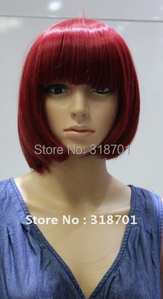(Free Shipping) Party wig Cosplay Wigs burgundy short bobo wigs Carnival Gift