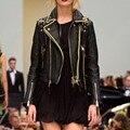 Кожа 2017 зима осень новый высокой уличной Моды стиль бренда Женщины ИСКУССТВЕННАЯ Кожа Краткое Мотоциклетная Куртка верхняя одежда высокое качество