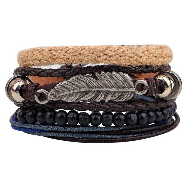 Vintage Tribal Bohemian Feather Bracelet Boho Silver Alloy Leaf Bracelet Cuff Men Leather Braclet Femme Male Wrist Band LB143