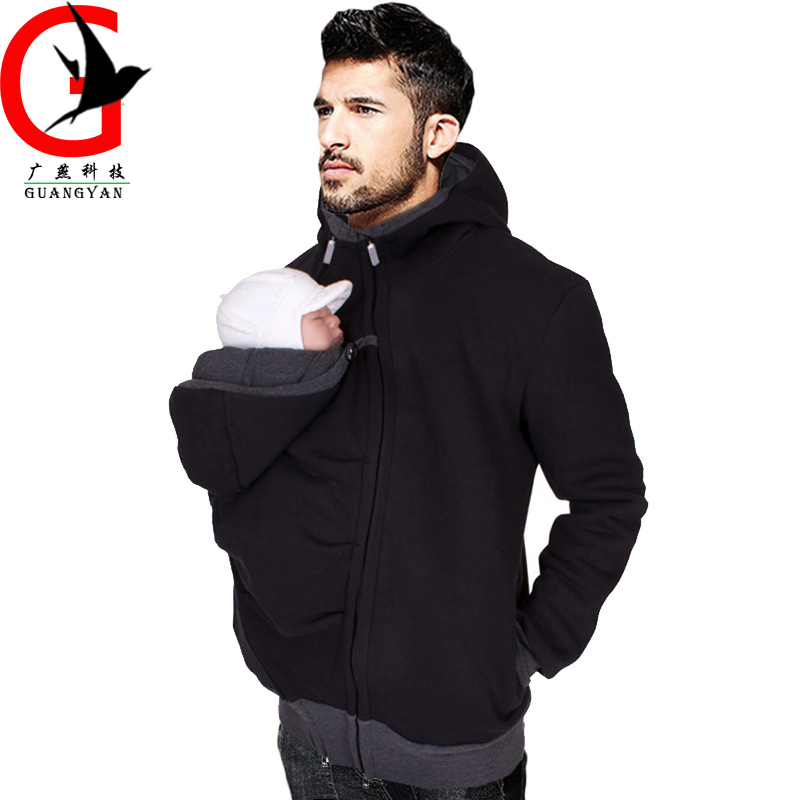 2 In 1 Multi-functional Kangaroo Father Sweater Men's Hoodie Male Jumper Autumn And Winter Baby Carrier  HL-10271