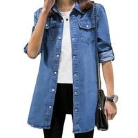 Jeans Shirts Tops Women 2019 Spring Vintage Female Cotton Jeans Blouses Chemise Femme Tunics Plus Size S~3XL Ladies Denim Shirt