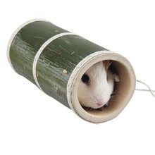 Pet Play Straight Through Tunnel with Two Holes for Hamster Playground Natural Bamboo Toy