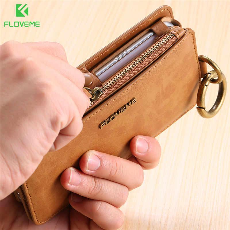 FLOVEME العلامة التجارية الرجعية محفظة جلدية حقيبة لهاتف سامسونج ملاحظة 9 8 فليب حامل بطاقة غطاء لسامسونج غالاكسي S10 S8 s9 plus S7 S6 حافة