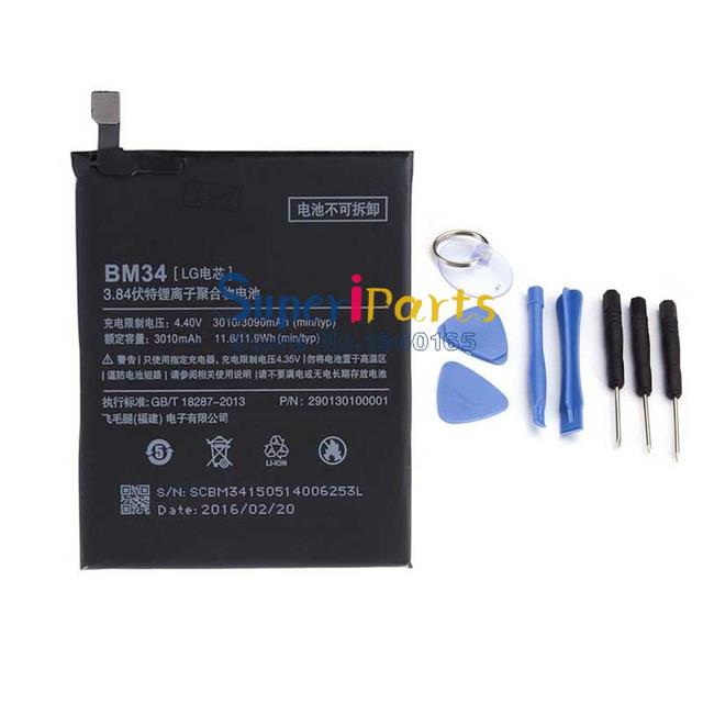 Original For Xiaomi Mi Note Pro Battery BM34 3010mAh New Battery For Xiaomi Mi Note Pro Mobile Phone with Tools&Tracking