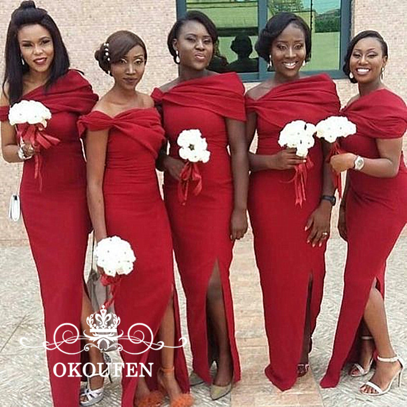 OKOUFEN 2018 Long Mermaid   Bridesmaid     Dresses   Sexy Side Split Red Satin Off Shoulder Maid Of Honor   Dress   For Wedding Party Gown
