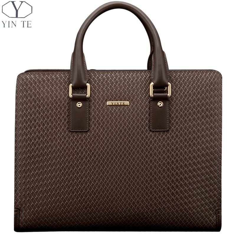 YINTE Fashion Men's Briefcase Leather Men Handbag Business Brown Bag Men Messenger Laptop  Weave Pattern Bag Portfolio T8275-2 цена и фото