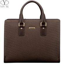 YINTE Fashion Men's Briefcase Leather Men Handbag Business Brown Bag Men Messenger Laptop Weave Pattern Bag Portfolio T8275-2