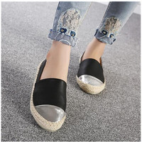 Spring Summer Women PU Leather Thick Heels Loafers Flats Female Casual Slip On Round Toe Shoes
