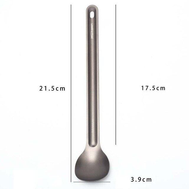 21.5cm x 3.9cm Long-handled Titanium SpoonTitanium Spoon Camping Spoon Outdoor Tableware