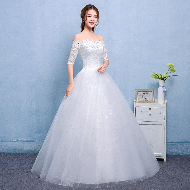 Es ist Yiiya Boat Neck Halbarm Brautkleider Billige Weiße Prinzessin ...
