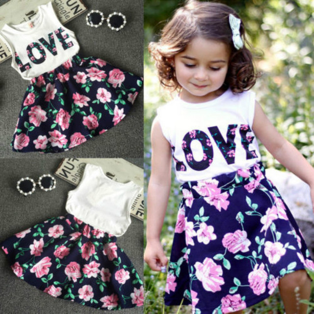 25d72f315aac8 US $4.61 16% OFF|Girls LOVE letters vest + floral skirt 2pcs girl set kids  baby summer outfits girls clothes printed t shirt + skirt dress 2 6T-in ...