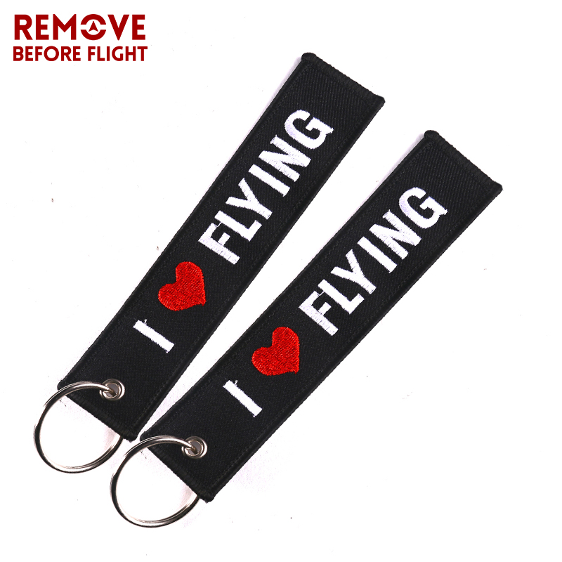 5PCS Key Chain Embroidery I LOVE FLYING Keychain Key Holder porta chaves for Aviation Pop gift Luggage Safety Tags Gift chaveiro in Key Rings from Automobiles Motorcycles