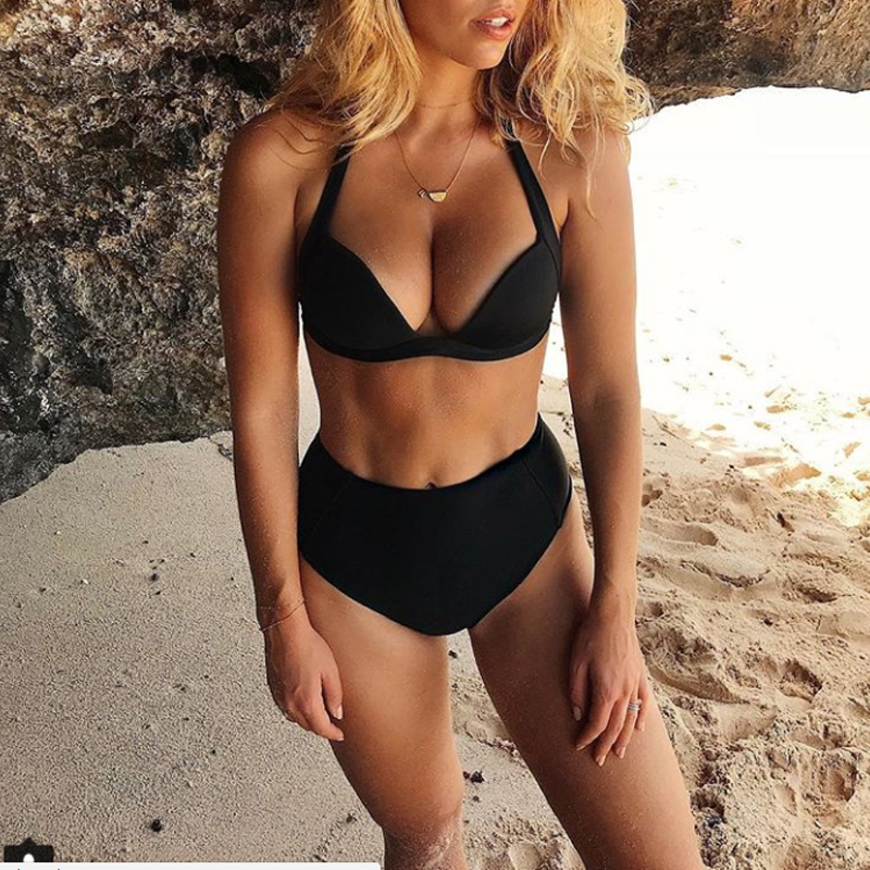 HTB1WPSadXGWBuNjy0Fbq6z4sXXaX - Halter high waist bikini women 2018 Push up plunge swimsuit solid sexy vintage swimwear female Sport bathing suit red bikini set