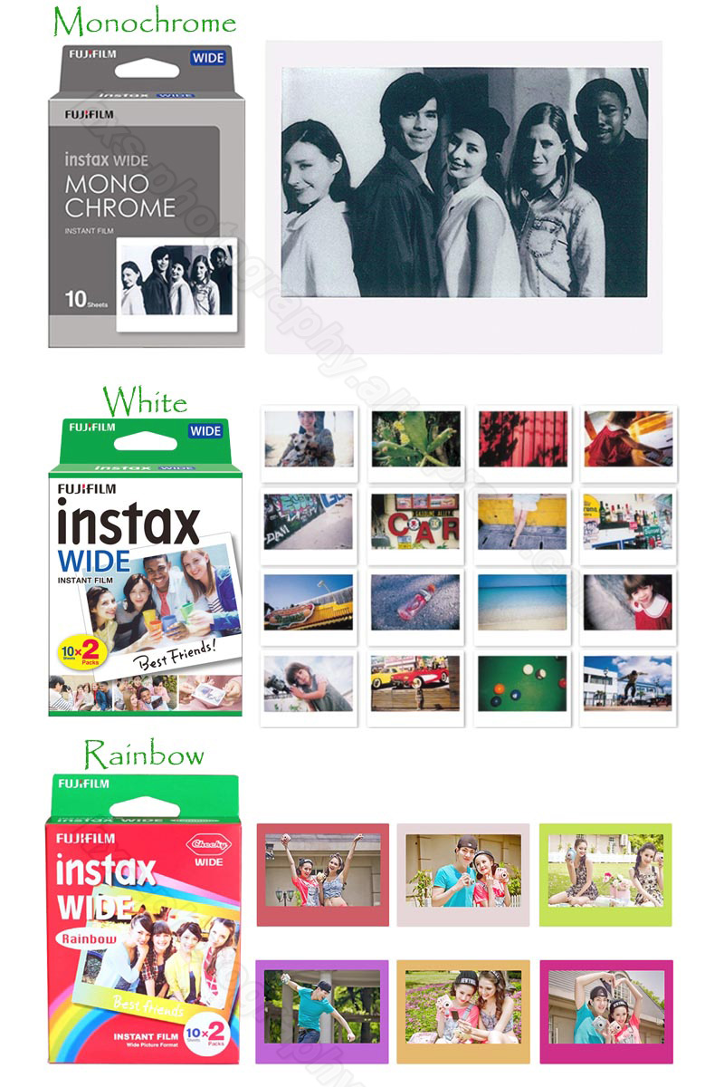 Original Fujifilm Instax Wide Instant Film White/Rainbow/Monochrome For Fuji Instant Polaroid Camera 300/200/210/100/500AF