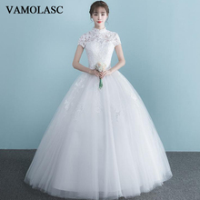VAMOLASC Illusion High Neck Tulle Ball Gown Wedding Dresses Lace Appliques Short Sleeve Backless Bridal Gowns