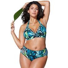 Moda Plus rozmiar stroje kąpielowe strój kąpielowy dla kobiet strój kąpielowy Bikini zestaw Bikini kwiatowy Print strój kąpielowy kobiety wysokiej talii strój kąpielowy tanie tanio Bikini set Fiszbiny Drukuj 0701 COTTON Poliester Pasuje większy niż zwykle proszę sprawdzić ten sklep jest dobór informacji